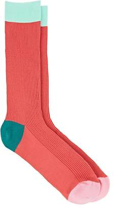 Paul Smith Men's Colorblocked Stretch-Cotton Mid-Calf Socks