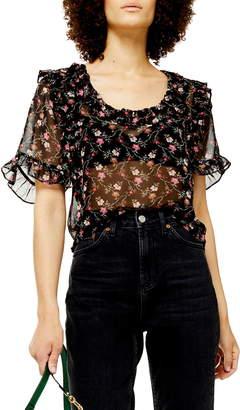 Topshop Faded Fields Ruffle Sheer Blouse
