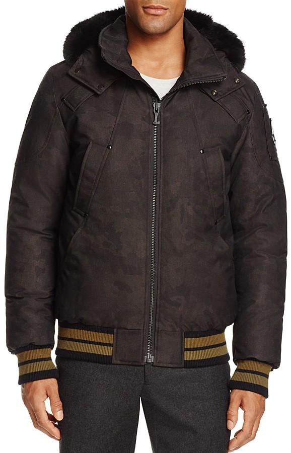 Moose Knuckles Carmacks Camo Hooded Bomber Jacket
