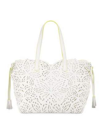 Sophia Webster Liara Canvas Laser-Cut Leather Butterfly Tote Bag