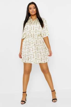 boohoo Plus Satin Chain Print Short Sleeve Shirt Dress
