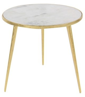 DecMode Decmode Modern 20 x 21 inch white marble round accent table with gold aluminum rim and legs, Gold, White