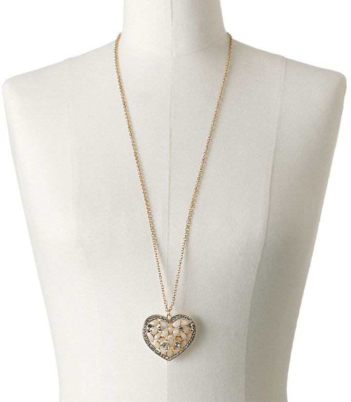 Candies Candie's ® gold tone simulated crystal heart pendant