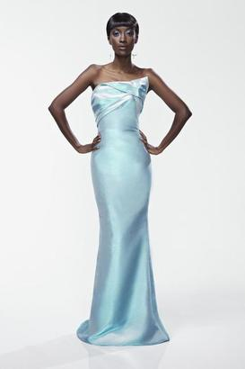 Theia - Pleated Front Long Dress 881093 $459 thestylecure.com