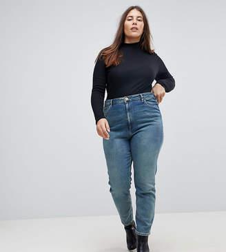 Asos Design Curve Farleigh High Waist Slim Mom Jeans In Chayne Wash