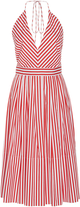 MDS Stripes V-Neck Halter Dress