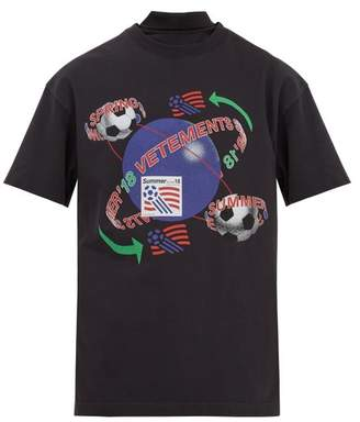 Vetements - Football Print Reconstructed T Shirt - Mens - Black Multi