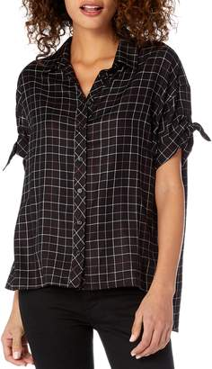 Michael Stars Tie Sleeve Plaid Blouse