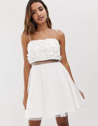 Asos Design DESIGN embellished crop top mini dress with 3D applique flowers