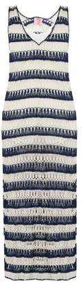 Anna Kosturova Bardot Crochet Maxi Dress - Womens - Blue White
