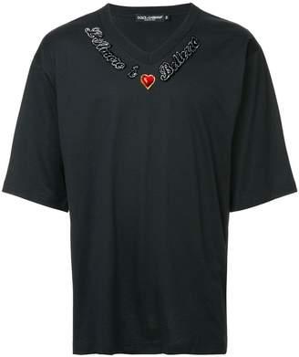 Dolce & Gabbana slogan embroidered T-shirt