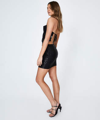Alice In The Eve Kitty Backless Cowl Neck Top Sequin Black