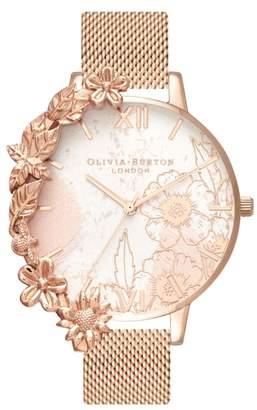 Olivia Burton Case Cuff Mesh Strap Watch, 38mm