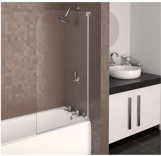 Aqualux Aqua 3 Half Frame Radius Bath Screen - White Hinge