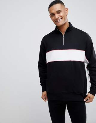New Look sweat with funnel neck in black