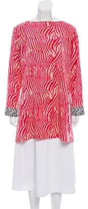 Oscar de la Renta Animal Print Long Sleeve Tunic Magenta Animal Print Long Sleeve Tunic