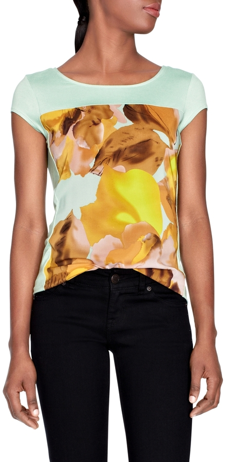 The Limited Sheer Printed-Panel Tee