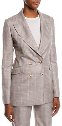 Gabriela Hearst Angel Double-Breasted Cashmere Plaid Suiting Blazer