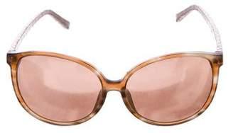 Linda Farrow Snakeskin-Trimmed Oversize Sunglasses
