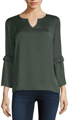 Liz Claiborne Womens Split Neck 3/4 Sleeve Blouse