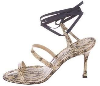 Manolo Blahnik Snakeskin Round-Toe Sandals