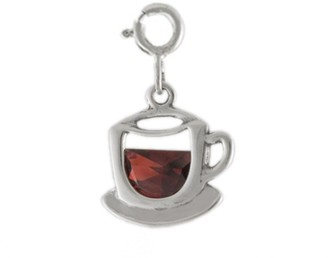 Sterling Tea Cup Charm with Cubic Zirconia Accent