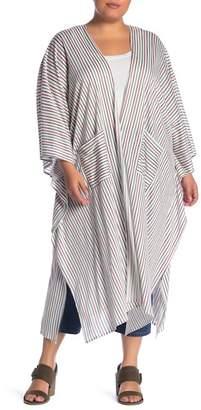MELLODAY Striped Kimono (Plus Size)