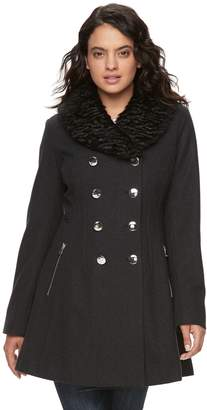 Blend of America Lnr Fashion Styles Women's LNR Fashion Styles Wool Faux-Fur Collar Peacoat