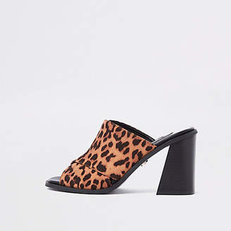 River Island Brown animal print block heel mule sandals
