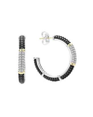 Lagos Black Caviar Hoop Earrings with Diamonds