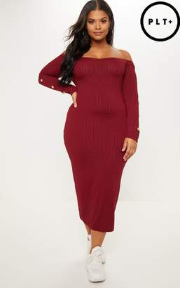 PrettyLittleThing Plus Burgundy Ribbed Tortoise Button Detail Bardot Midi Dress