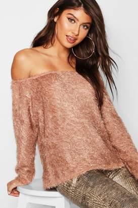 boohoo Fluffy Knit Oversized V Neck Jumper