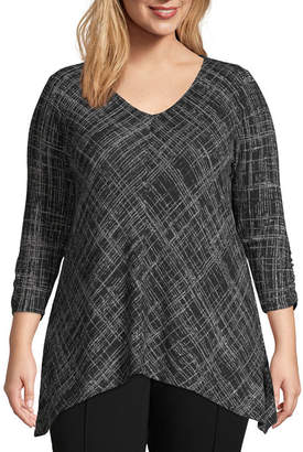 Alyx 3/4 Ruched Sleeve Tunic Top - Plus