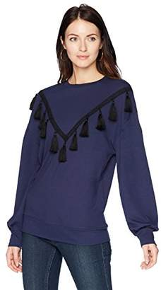 Ella Moon Women's Hadley Tassel Trim Volume Sleeve Top