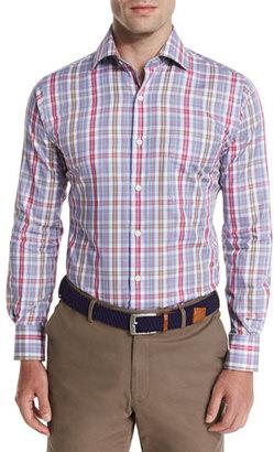 Peter Millar Herron Plaid Oxford Shirt, Pomegranate $145 thestylecure.com