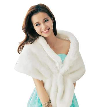 King's Love Elegant Faux Fur Shawls For Women Wedding Cape Jacket Wool Wraps For Bride