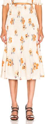 Nicholas Smocked Skirt in Orange Multi | FWRD
