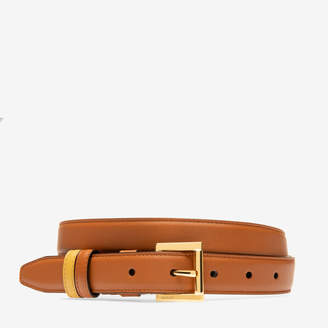 Bally Tessa 25Mm Brown, Women's plain calf leather adjustable/reversible belt in tan