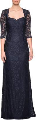 La Femme Lace Column Gown