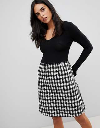 Traffic People 2-In-1 Midi Dress With Checked Skirt