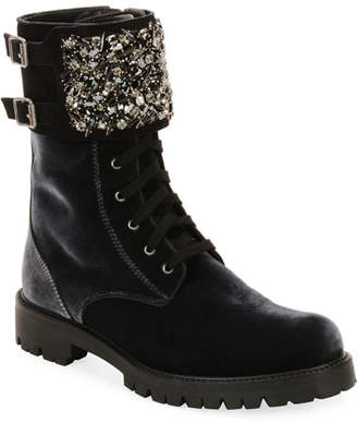 Rene Caovilla Velvet Combat Boot with Crystal Monk Strap