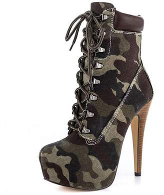 MERUMOTE Women's Platform Rivets Lace Sky High Heel Straps Round Toe Short Ankle Boots Green-2 Size 11 US