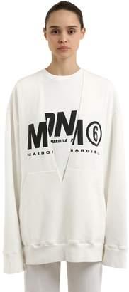 MM6 MAISON MARGIELA Oversize Layered Logo Cotton Sweatshirt