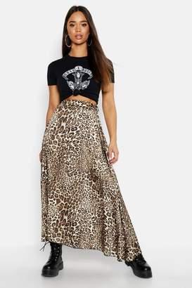 boohoo Asymmetric Leopard Midi Skirt