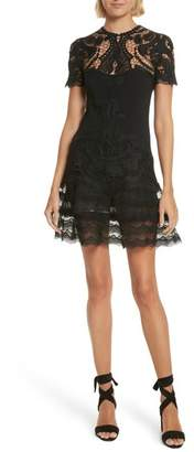 Jonathan Simkhai Lace Applique Crepe Mini Tee Dress