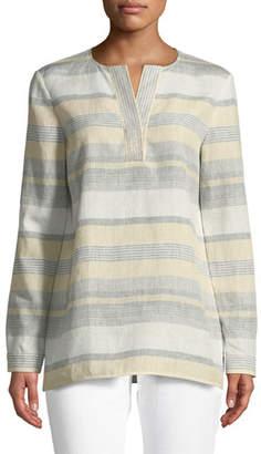 Lafayette 148 New York Joan Surrealist Linen Stripe Tunic