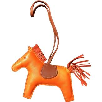 Hermes Rodeo Orange Leather Bag charms