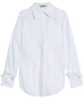 Nina Ricci Chantilly Lace-Paneled Cotton-Poplin Shirt