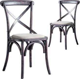 Otis Bella Casa Set of 2 Distressed Country Style Dining Chairs