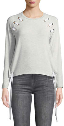 Generation Love Kennedy Grommet Lace-Up Long-Sleeve Pullover